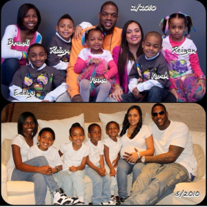 (TOP) Patrice Curry and Eddy Curry with 6 out of 7 of their collective children. (BOTTOM) The Curry family with 5 out of their 7 collective children.