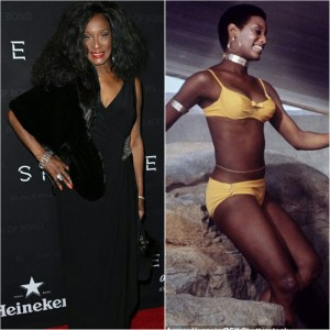 (LEFT) 68 year old Trina Parks at last night's Black Women of Bond event. (RIGHT) Parks as Thumper in 1971's Diamonds Are Forever.