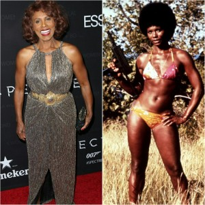 "(LEFT) 66 year old Gloria Hendry at last night's tribute. (RIGHT) Hendry as Rosie Carver in 1973's ""Live and Let Die""."