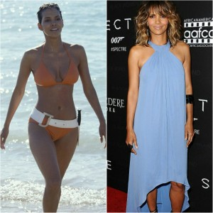 "(LEFT) Halle Berry,as ""Jinx"" in 2012's ""Die Another Day"". (RIGHT) 49 year old Halle at last night's tribute event."