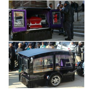 Tyshawn's casket carried away by black chariot.