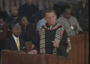 Father Pfleger of Saint Sabina Church, preaches at the funeral of Tyshawn Lee. The funeral was paid for by Father Pfleger.