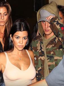 Kourtney Kardashian and Justin Bieber leaving the Nice Guy restaurant on October 9, 2015.