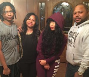 Nicki Minaj with her brothers Micaiah and Jelani Maraj and her mother Carol Maraj.