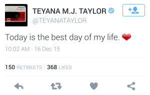 Teyana Taylor tweets about the birth of her daughter.
