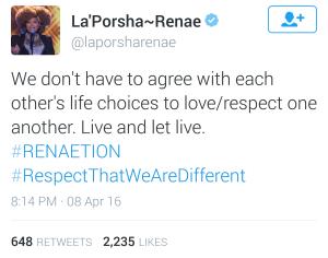 LaPorsha Tweet LGBT