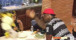 "Memphitz flipping over plates of food next to his wife Toya Wright's head on WeTv's ""Marriage Bootcamp""."