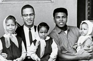 Malcolm X, Muhammad Ali, and their daughters.
