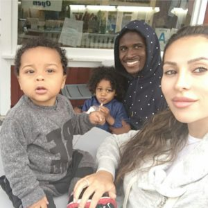 Reggie Bush, his wife Lilit, and children Uriah and Briseis